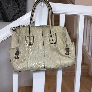 B. Makowsky gold cream suede snake bag